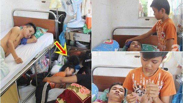 Trà Vinh: Mẹ bỏ đi lấy chồng, hai đứa trẻ nghỉ học vào bệnh viện chăm sóc anh trai tàn tật, đau đớn không có tiền chữa trị