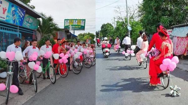 Rước dâu bằng xe đạp, cặp đôi An Giang nổi như cồn trên mạng xã hội