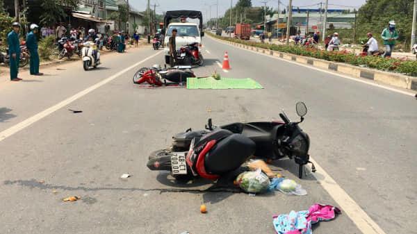 Tai nạn giao thông liên hoàn nghiêm trọng, một phụ nữ trên xe máy mang BKS An Giang ch.ết thảm