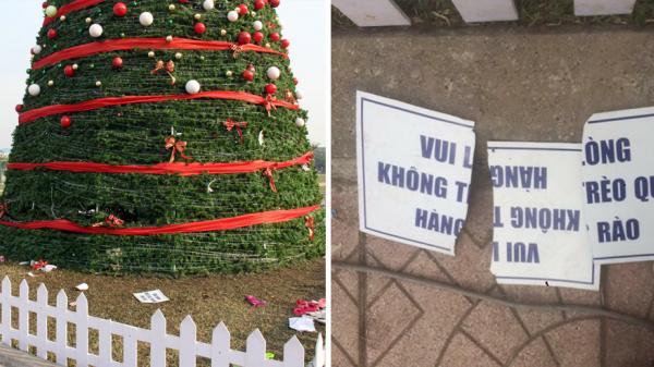 """Cây thông Noel lớn nhất ở TP Bắc Giang """"tả tơi"""" sau đêm Giáng sinh"""