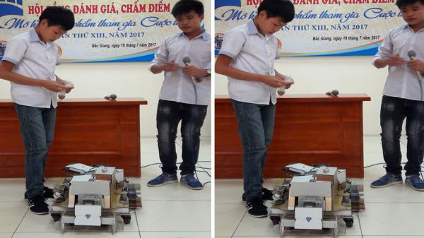 """Học sinh lớp 8 ở Bắc Giang chế tạo ra """"Máy nông nghiệp đa năng"""""""
