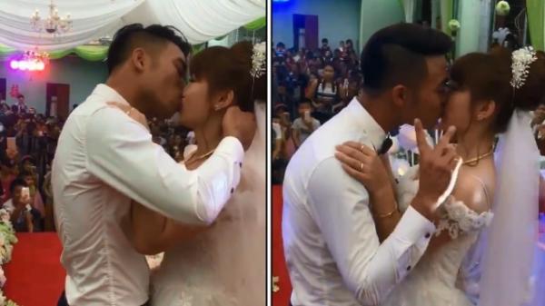 Cô dâu chú rể hôn nhau đắm đuối trong đám cưới nhưng dân mạng lại phát hiện điểm bất thường