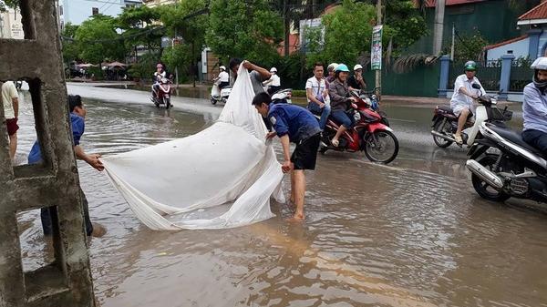 Người dân thành phố Bắc Giang 'trổ tài ngư dân' bắt cá bằng màn trên đường
