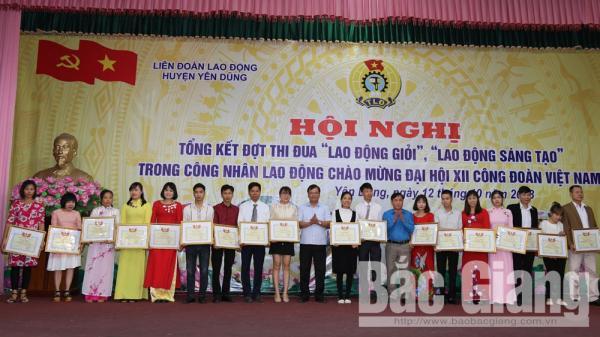 Yên Dũng (Bắc Giang): 73 công nhân lao động xuất sắc được Liên đoàn Lao động tỉnh tặng Bằng khen