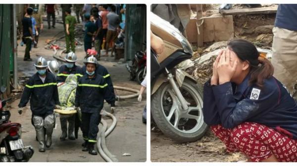 H iện trường vụ cháy làm 8 người c hết tại Hà Nội: Người mẹ g ào khóc ngồi đợi nhận th i thể con trai