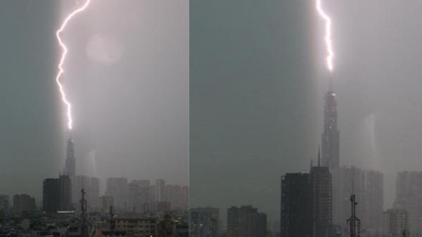 Ấn tượng: S.é.t đ.á.n.h trực diện vào tòa nhà cao tầng, xé toạc bầu trời khiến nhiều người kinh hãi
