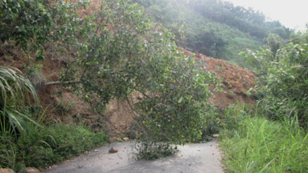 Sạt lở đất gây ách tắc giao thông tuyến đường Thanh Vận- Cao Kỳ