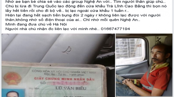 Nam thanh niên quê Nam Định cưu mang người đàn ông bị lừa sang Trung Quốc rồi bị lấy hết tiền