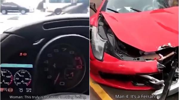 Vừa mua được xe Ferrari 17 tỷ, cô gái trẻ lái ra khỏi cửa hàng được 2 giây thì đâm nát bét