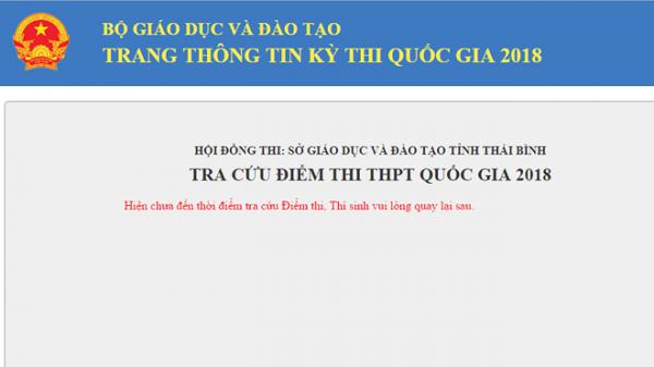[HOT]: Tra cứu điểm thi THPT quốc gia tại Thái Bình nhanh nhất
