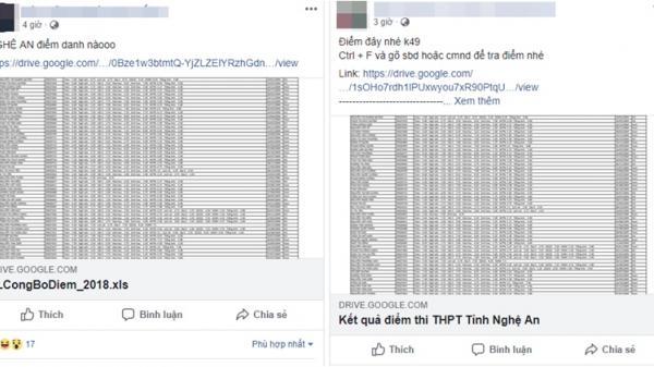 HOT: Rò rỉ kết quả thi THPT Quốc Gia, hàng loạt fanpage chia sẻ