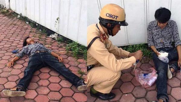 Người đàn ông quê Thái Bình nằm bất tỉnh trên đường được CSGT kịp thời giúp đỡ