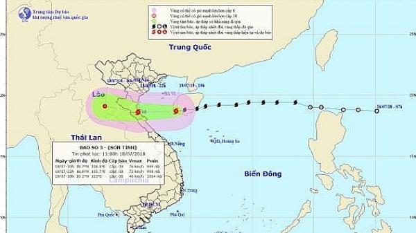 Chiều tối nay bão số 3 sẽ đổ bộ vào các tỉnh từ Thái Bình đến Quảng Bình