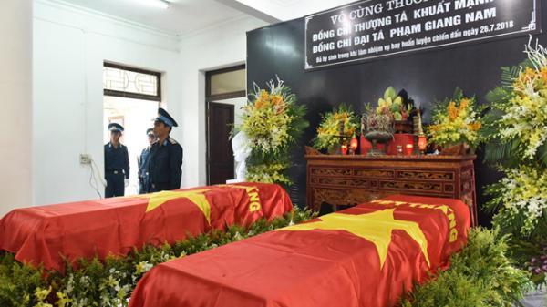 Người thân, đồng đội tiễn đưa một trong hai phi công quê Thái Bình