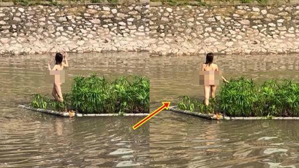 Sốc: Cô gái không mặc đồ bơi ra giữa sông Tô Lịch múa