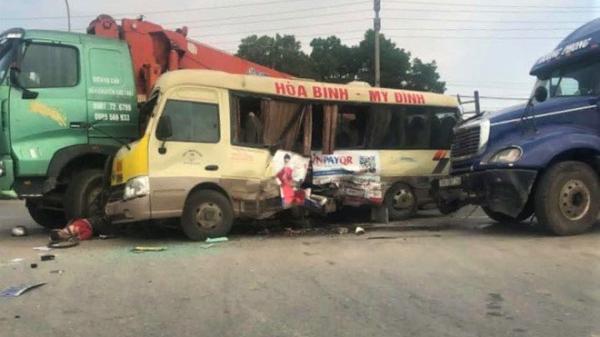 """""""Soi"""" tốc độ xe container do tài xế Thái Bình điều khiển trong vụ đ.âm xe liên hoàn trên đại lộ Thăng Long"""
