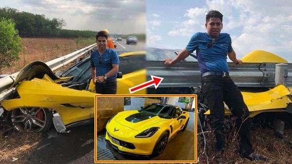 Lái siêu xe 6 tỷ đồng đâm vào rào chắn nát bét đầu, anh tài xế vẫn hớn hở đứng chụp ảnh tự sướng