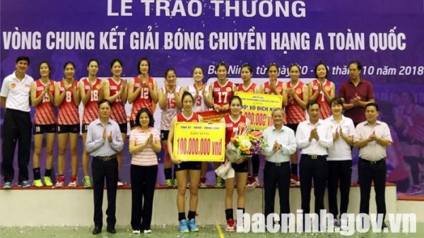 Đội Bóng chuyền nữ Kinh Bắc vô địch Giải Bóng chuyền hạng A toàn quốc năm 2018