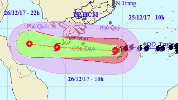 Bão Tembin đang suy yếu, giảm dần cường độ khi tiến vào đất liền các tỉnh Tây Nam Bộ