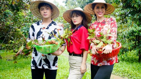 Han Sara, Tuấn Kiệt phấn khích khi lần đầu tham dự lễ hội trái cây tại Bến Tre