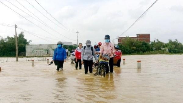 Bình Định: Mưa lớn gây lũ hạ lưu sông Côn, sông Hà Thanh
