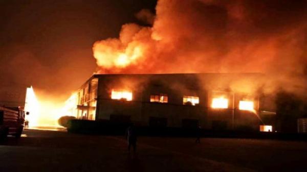 Cháy lớn ở Bình Dương, xưởng gỗ 3.000 m2 đổ sập