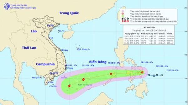 CẬP NHẬT: Áp thấp mạnh lên thành bão, hướng về phía Nam Bộ