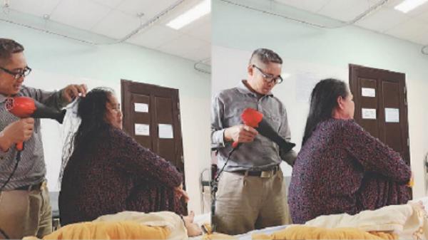 """50 tuổi vẫn chăm sóc vợ như """"công chúa"""": Cặp vợ chồng trung niên khiến cả bệnh viện ngưỡng mộ"""