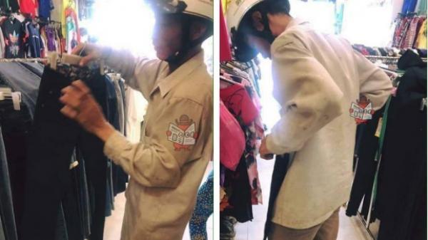"""Xúc động hình ảnh người đàn ông gầy gò, quần áo bụi bẩn đi sắm quần áo Tết cho vợ và con gái: """"Tôi muốn mua cho vợ với con bé tấm áo mới. Cả năm vất vả rồi cô ạ''"""