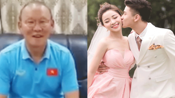Không về dự đám cưới được, HLV Park Hang-seo quay hẳn clip, chúc mừng hạnh phúc trò cưng Văn Đức bằng tiếng Việt