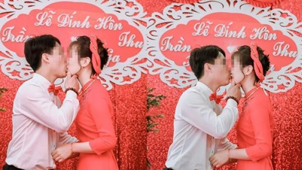 Mãi mới lấy được vợ, chú rể vui quá hôn lịa lịa như muốn ăn trọn cô dâu giữa lễ cưới