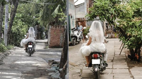 Chú rể chạy xe máy rước dâu từ xóm trọ ra đầu ngõ làm lễ vu quy, ai nói nghèo thì không thể làm đám cưới ?