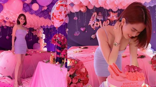 Ngọc Trinh được bạn trai làm luôn căn phòng màu hồng tặng sinh nhật 30 tuổi