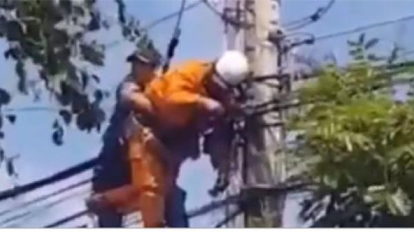 Clip lan truyền người bị điện giật trên cột điện ở xã Tân Bình thị xã La Gi không thuộc Điện lực Hàm Tân