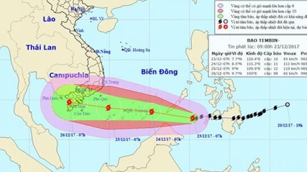 Lên phương án di dời gần 1 triệu người dân tránh bão Tembin