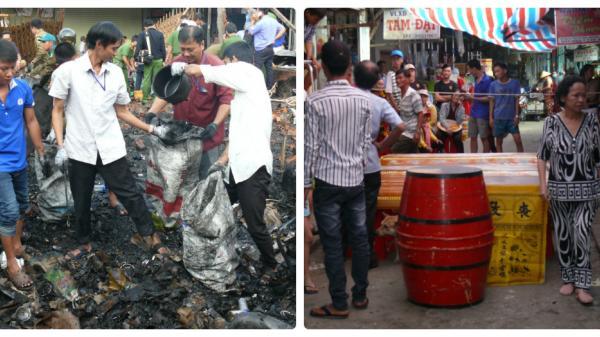 Cận cảnh hiện trường vụ cháy chợ Chà Là ở Miền Tây khiến 2 vợ chồng thiệt mạng