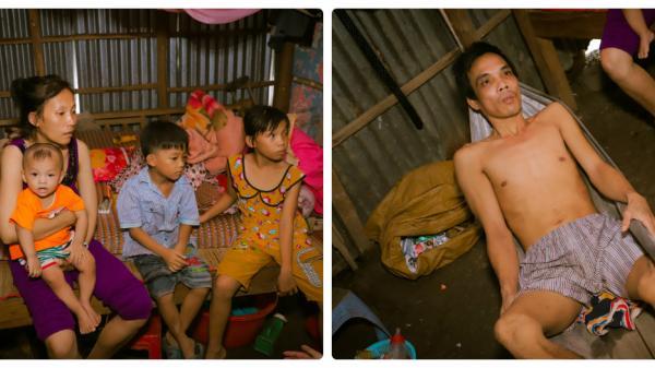 Rớt nước mắt cảnh bố mắc bệnh nan y, mẹ bị tâm thần nuôi 3 đứa con dưới mái nhà lá lụp xụp ở Cà Mau