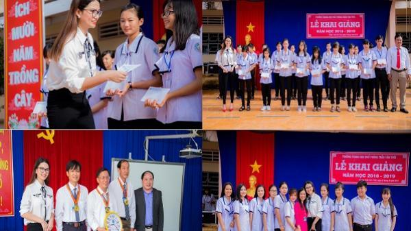 Á hậu Doanh nhân, Đại sứ Hội Khuyến học Việt Nam Trương Diễm Trinh về thăm trường cũ nhân lễ khai giảng năm học 2018 – 2019