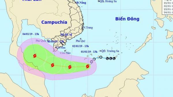 Cơn bão đầu tiên trong năm 2019 đang hướng thẳng vào vùng biển Cà Mau