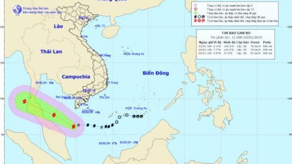 Bão số 1 vượt qua mũi Cà Mau, xa dần về phía Tây Tây Nam