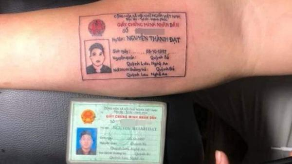 Thanh niên Sài Gòn xăm cả chứng minh nhân dân lên cánh tay vì... hay đi nhậu về khuya