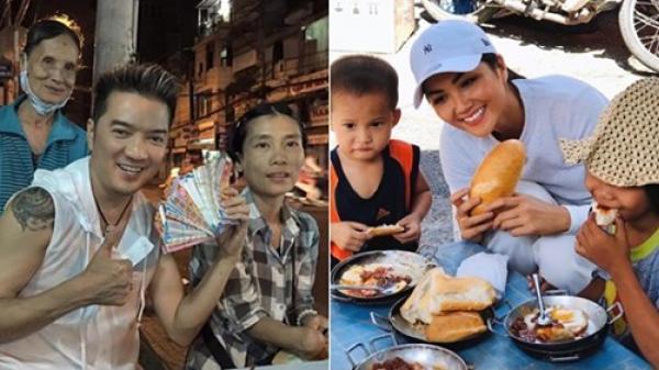 Sao Việt đối xử với người bán vé số: H'Hen Niê đãi một chầu ăn sáng