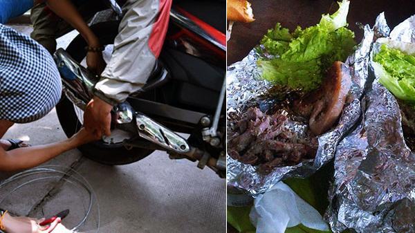 Hướng dẫn nướng thịt bằng bô xe máy trên đường phượt