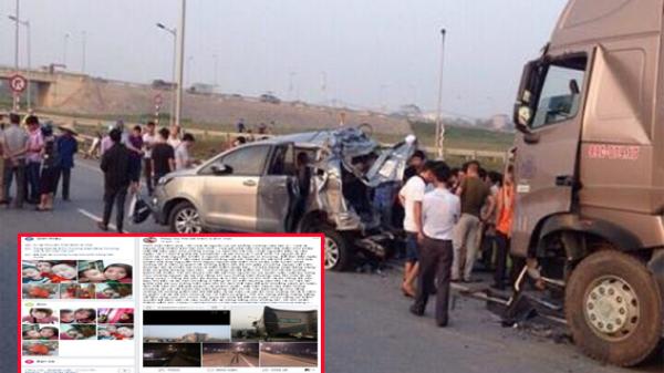 Vợ tài xế container đâm Innova lùi trên cao tốc Thái Nguyên - Hà Nội kêu oan trên facebook