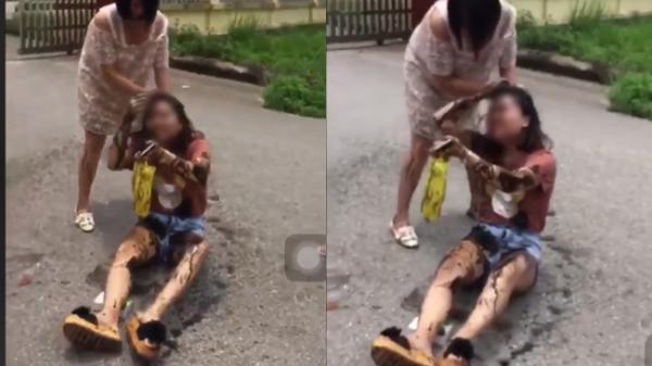 Thái Nguyên:  Đánh ghen kinh hoàng ngay cổng trường, vợ bầu vượt mặt đổ dầu luyn lên đầu bồ nhí