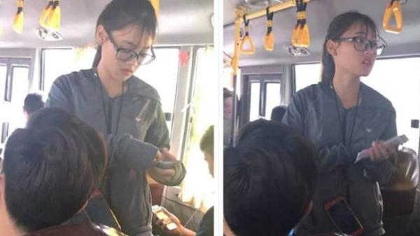 """""""Hot girl"""" soát vé xe buýt khiến các """"cao nhân"""" ngẩn ngơ vì quá xinh đẹp"""