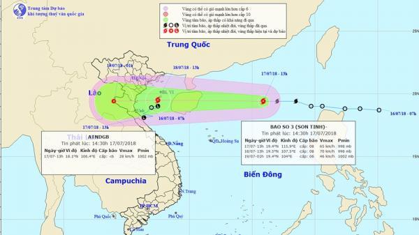 Bão Sơn Tinh chiều mai đổ bộ vào các tỉnh Hải Phòng đến Hà Tĩnh