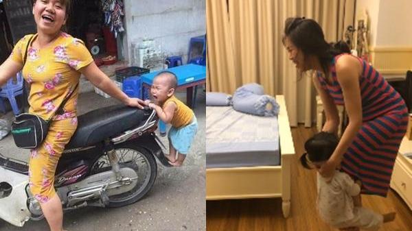 """Em bé cứ mãi đu chân mẹ: """"Dù đi đâu cũng phải có nhau mẹ nhé! """""""