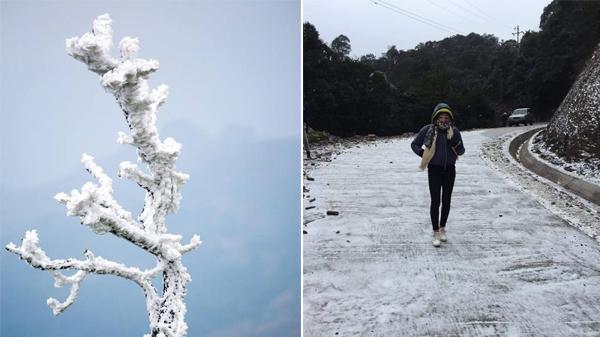 Cao Bằng chính thức có băng tuyết, phủ kín dày đặc đỉnh Phia Oắc, Trùng Khánh và 1 số nơi khác