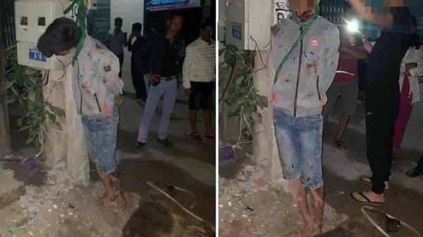 Thanh niên sinh năm 2001 đi trộm chó bị dân đánh bầm dập, treo cổ lên cột điện